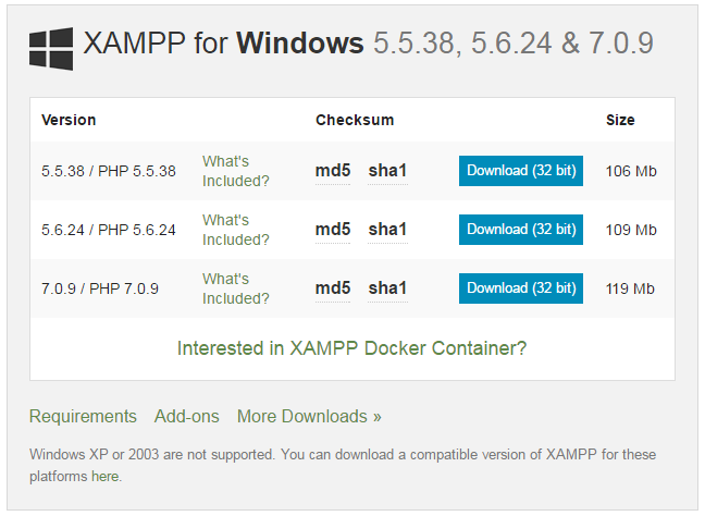 download xampp