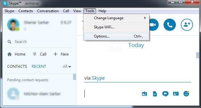 skype tools options